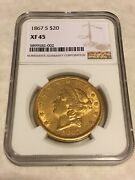 1867-s Xf45 Ngc Liberty Double Eagle 20 Gold Coin Great Appeal No Pcgs