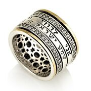 Gold And Sterling Silver Shema Yisrael And My Beloved Spinning Ring With Zircon