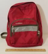 Ll Bean Kids Junior Youth Deep Red Backpack Book Bag Reflector Diabetic Care Tag