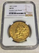 1871-s Au53 Ngc 20 Liberty Double Eagle Gold Coin Nice Granite Lady No Pcgs