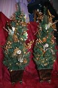 Pair Christmas Potted Topiary Tree - Gold Pot And Decorations With Lights Vintag