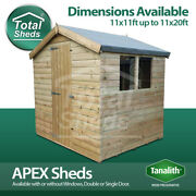 Total Sheds Apex Pressure Treated Tanalised Shed Sizes From 11x11 To 11x20