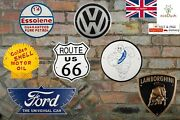 Cast Iron Vintage Style Automobilia Sign - Shell Ford Esso Michelin Route 66