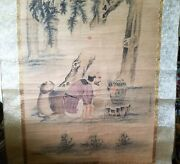 Very Large Japanese/chinese Scroll Painting Monk And Beast By Fire
