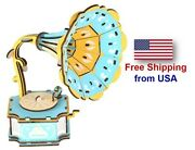 3d Wooden Jigsaw Puzzle Phonograph Gramophone Model Diy Educational Toy Gift