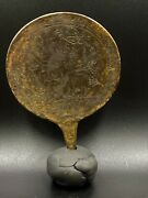 Bronze Mirror Engraved Rare Story From Ancient Old Historic Antiquity Roman