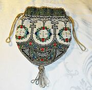 Wow Exquisite Antique Hand Maid Beaded Evening Bag Purse Drawstring Glass And Silk