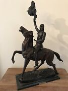 Frederic Remington The Buffalo Signal Bronze Statue Mint Collectible - 33andrdquo Tall