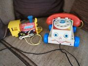 Two Fisher Price Pull Along Toys, Phone 2009 , Vintage Train-toot Toot