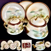 Rare Antique Japanese Hand Painted Pottery Teapot Sugar Bowl And Plates 5 Pieces