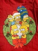 Menand039s The Simpsons Family Christmas Wreath Graphic T-shirt Nwt Red