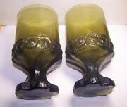 Franciscan Madeira Olive Green Footed Glass Goblets Vintage Circa 1970's