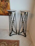 Vintage Wrought Iron And Brass Neoclassical Marble Top Crossed Arrow Pedestals