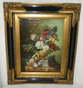 Old Antique Oil Painting M. Wagner Still Life, Bouquet, Heavy Black Gold Frame