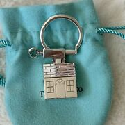 Rare Vintage And Co Solid Silver 3d House Home Keys Keychain Keyring Pouch