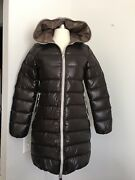 Duvetica Brown Full Zip Hooded Pure Goose Down Fill Coat Size 38 Us Xs