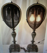 Antique Fencing Mask Heavy Brass Table Lamp Pair 2 With Finials - Rare