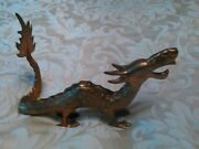 9 1/2 Brass Dragon Solid Figurine Made In India