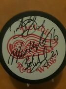 Vladimir Konstantinov Signed Detroit Red Wings Official Hockey Puck + 2 Others