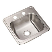 Single Bowl Kitchen Sink Home Stainless Steel Drop-in 2-hole Bar Prep 5 In. 1 Pc