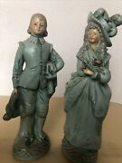"""Vintage Chalkware Victorian Man And Woman 10"""" Tall Figurines By Coventry Ware Blue"""