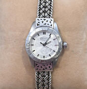 Lois Hill Watch Sterling Silver Flat Weave And Cut Out Band Roman Numeral Bezel