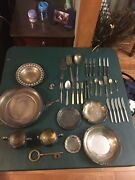 Antique Silverware Plates Cream And Suger Knifes And Forks And Brass Skeleton Key