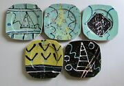 Signed Les Lawrence Studio Pottery 80and039s New Wave Memphis Style Plates Set 5