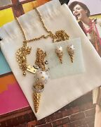 Kate Spade Ice Cream Cone Earrings And Necklace Long Pendant 32 Set