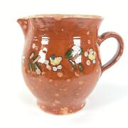 Antique French Redware Glazed Floral Dot Milk Pitcher Hand Painted France