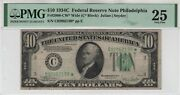 1934 C 10 Federal Reserve Star Note Philadelphia Fr.2008-cw Pmg Very Fine 25