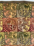 19th C. Chenille Metallic Embroidered Fabric Tapestry Griffin Shield Rare Find
