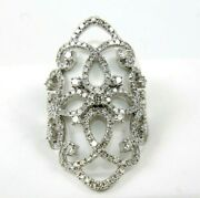 Natural Round Diamond Cluster Curve Long Ladyand039s Ring 14k White Gold 1.68ct