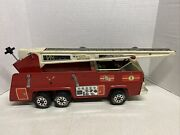 Vintage Tonka Red Metal Firetruck With Extending Aerial Ladder 1980's Black Seat