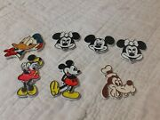 Vintage Lot Of 7 Walt Disney Productions Rubber Refrigerator Magnets Mickey