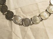 Barber Dime Necklace. 10 Barber Dimes On Sterling Silver Chain. All Dated 1910