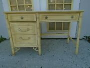Fretwork Allegro Desk Faux Bamboo Thomasville Hollywood Regency Chippendale Chin