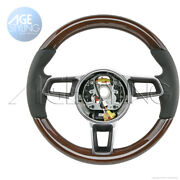 Porsche Cayman 718 Boxster Yachting Mahogany Wood Black Leather Steering Wheel