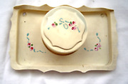 Vintage Thin Celluloid Vanity Tray And Powder Box
