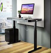 Seville Classics Airlift Electric Standing Desk With Drawer 2.4a Usb Ports, 3 Me