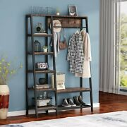Tribesigns Industrial Entryway Hall Trees W/ Hooks Storage Shelves Clothes Rack