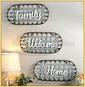 Metal Farmhouse Tobacco Basket Sentiment Wall Art Decor Welcome Family Or Home