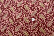 French Antique C1819 Dark Maroon Ground Tossed Paisley Cotton Fabric31 X 32