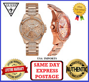 Guess W1156l3 Frontier Rose Gold And Crystal Chronograph Womens Wrist Watch