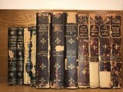 11 Old Antiquarian Books Poor Condition Rustic Interior Decoration Very Damaged