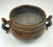Small Antique Chinese China Ming Qing Bronze Mark Censer Incense Burner