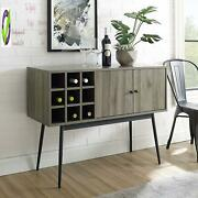 Industrial Modern Wood 2 Buffet Sideboard With Bottle Entryway Serving Wine Sto