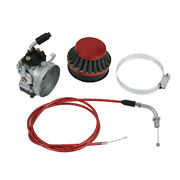 Carburetor And Red Throttle Line And Air Filter Fit 60cc 66cc 80cc Motorized Bicycle
