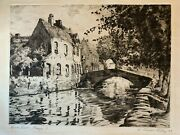 Aiden Lassell Ripley Quai Vert, Bruges Signed Drypoint Etching 1932