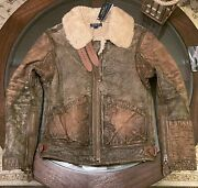 Size Medium Shearling Aviator Leather Jacket New With Tags Brown